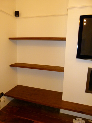 walnut wall shelving